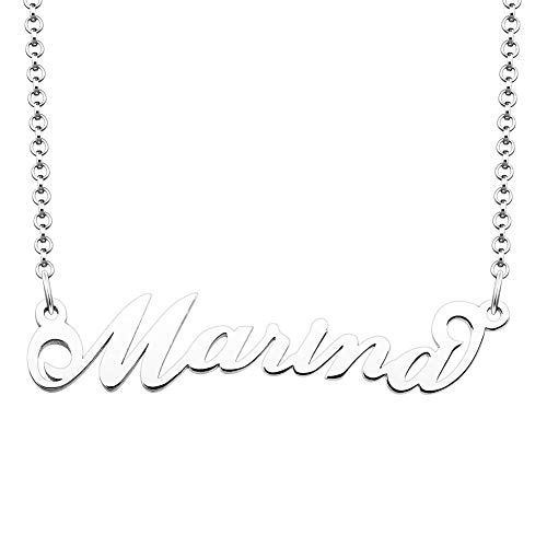 JewelryJo 925 Sterling Silver Personal Name Necklace Semi-Custom Made Customized Personalized Gift for Marina