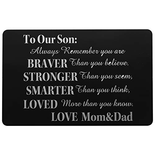 Son Wallet Card Love Note Insert Card Birthday Gift from Dad- To My Son, Always remember (.)