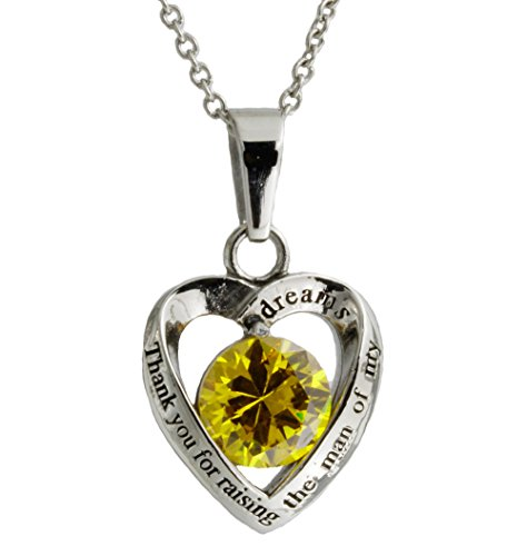 R.H. Jewelry Mother in Law Heart Stainless Steel With Yellow Crystal Pendant Necklace