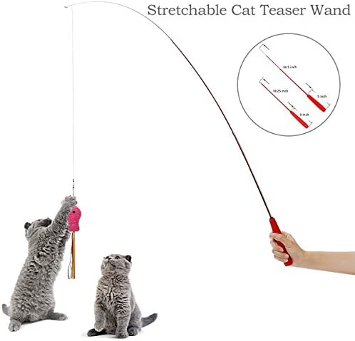 upsimples Cat Toys Including Cat Teaser Wand Interactive Feather Toy Fluffy Mouse Mylar Crinkle Balls Catnip Pillow for Kitten Kitty 3