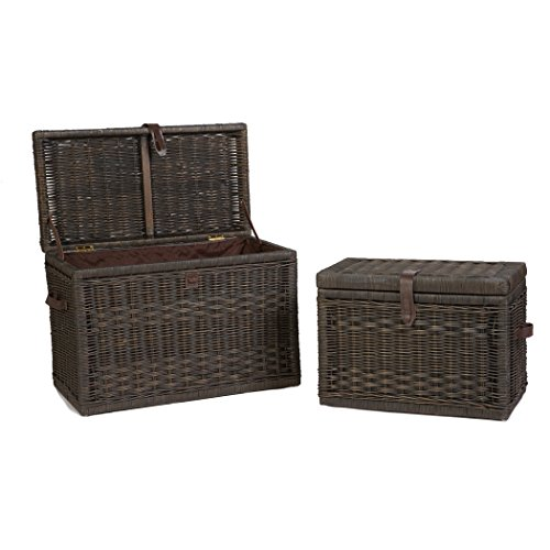 The Basket Lady Wicker Storage Trunk | Wicker Storage Chest Nested set of 2 Antique Walnut Brown by The Basket Lady