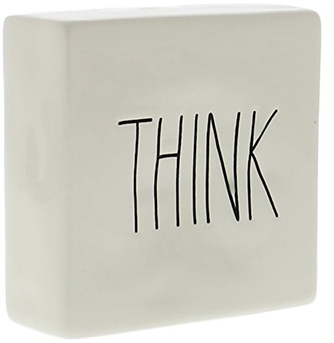 Rae Dunn by Magenta Ceramic Box Sign Desk Paperweight THINK / EVOLVE ()