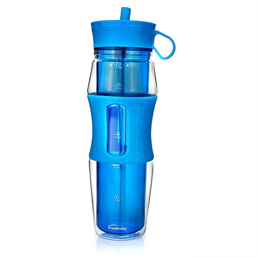 Trudeau Cool Off Double Wall Insulated Sport Water Bottle for Cold Drinks | BPA Free SAN Plastic | Silicone Straw | Non-Slip Grip | Great for Outdoor, Bicycle, Camping & Gym | 24 oz (Ocean)