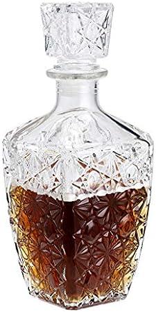 MDLUU Decantador de licor, decantador de bebidas espirituosas de cristal con tapón hermético, botella de whisky vodka Bourbon para regalo, hogar, bar, decoración de fiestas, 800 ml