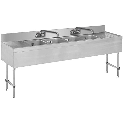 4 Compartment Bar Sink - Advance Tabco SLB-74C Lite Four Compartment Stainless Steel Bar Sink with 18