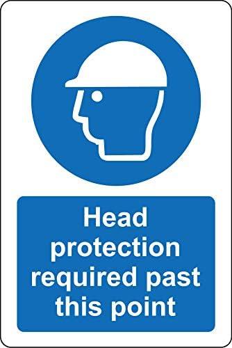 Hoofd bescherming vereist voorbij dit punt constructie Veiligheidsbord12mm Rigid plastic 400mm x 300mm