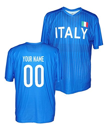 Custom Italy Jersey T Shirt - Any Name & Number (Large)