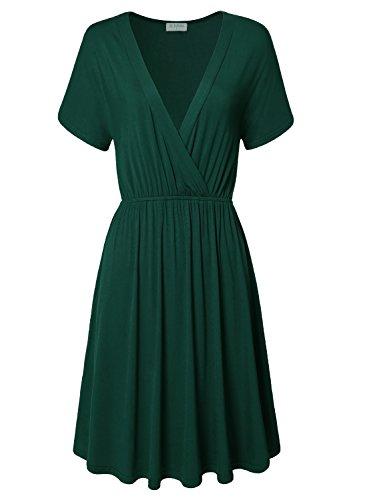 Women's Summer Fashion Casual Plus Size Short Sleeve Dress Green - 4