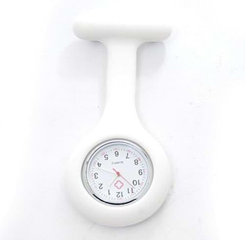NEW Silicone Quartz Movement Nurse Brooch Fob Tunic Pocket Watch White