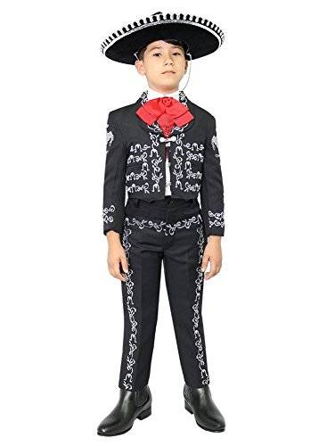 Baby Boys Black Silver Embroidered Mariachi Pants Jacket Hat Set 1