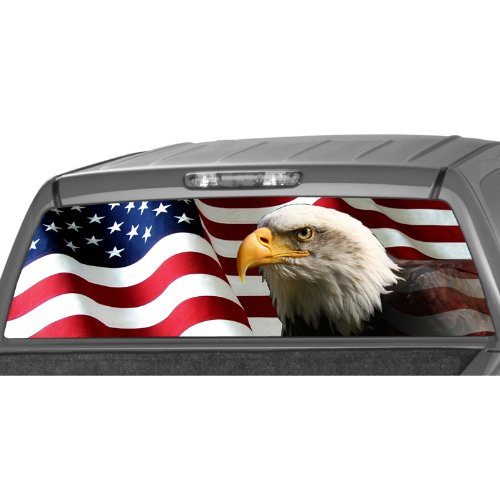 MotorINK AMERICAN EAGLE Flag stars Rear Window Graphic Decal Tint Sticker Truck suv (Truck Window Tints)
