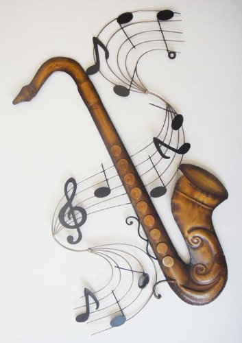 Wall Art - Scultura da parete - Wall Art in Metallo - Sax Sassonono Partitura Musicale Brilliant Wall Art