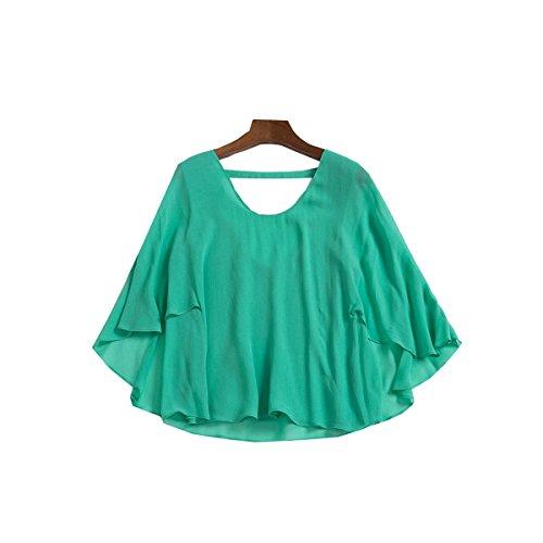 WHTCE Primavera Color Sólido Moda Floja Falta La Parte De Atrás Seda Camisa Green