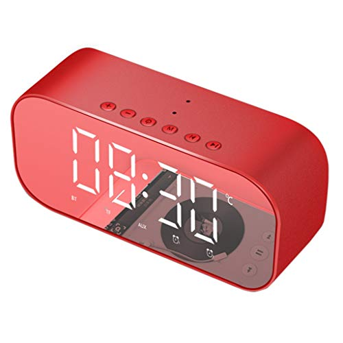 (NOMENI Wireless Bluetooth Speaker Stereo, Dimmable LED Display Alarm Clock with Radio, Micro SD Card, Hands-Free Call, LED Night)