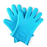 2 pairs Silicone Cooking Gloves Heat Resistant Oven Mitt Grilling, BBQ, Kitchen - Safe of Pots and Pans - Cooking & Baking Non-Slip Potholders