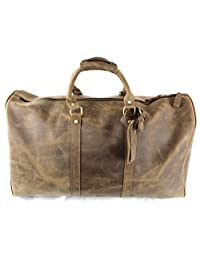 Large Genuine Leather Duffel Weekender Bag with Shoulder Strap - Travel Carry-On Luggage Tote
