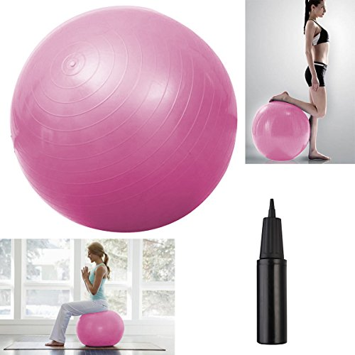 "Hot item Pink Yoga Ball 29"" 75cm Exercise Pilates Balance Gymnastic Fitness W/Air Pump"