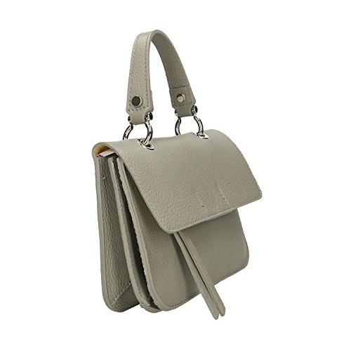 Italie Sac main à cuir Gris Borse en véritable Femme Clutch Cm en Chicca fabriqué Petit 23x17x7 qY47UIxxw