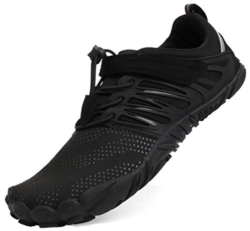 WHITIN Women's Minimalist Barefoot Shoes Low Zero Drop Trail Running 5 Five Fingers Wide Toe Box for Male Walking Workout Crossfit Tennis Black Size 8
