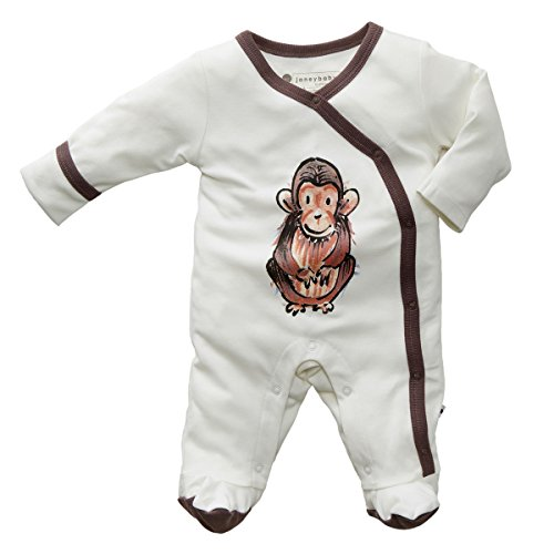 Babysoy Janey Baby Footed Pajamas - Organic Kimono Sleeper (3-6 Months, Chimp) Mom Baby Ultrasoft Onesie