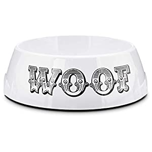 Bowlmates White WOOF Single Dog Bowl Base, 7 Cup, Large