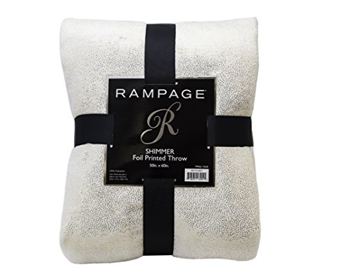 Rampage Glitter Metal Super Soft Shimmer Foil Throw - 50x60 (White/Gold) (Silver White And Bedding Gold)