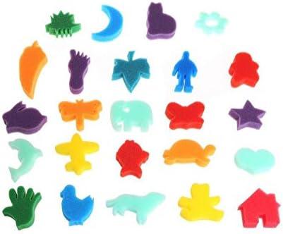Childrens Kids 24 Paint Animal Shaped Bath Toy Sponge Set Art Craft Painting S Crafts