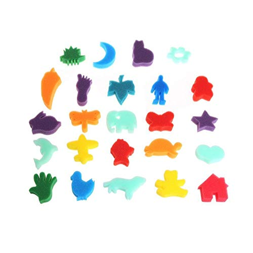 wsloftyGYd 24Pcs Animal Palm Drawing Sponges Kids Art Craft Painting Home Educational Toys Round Wooden Handle Sponge Painting DIY Early Teaching Painting Kindergarten Graffiti Random Color