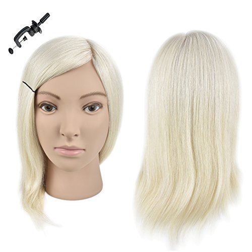 "Price comparison product image Wansi Professional Cosmetology 14"" 100% Human Hair Mannequin Head Hairdresser Minikin Training Head Blonde Color"