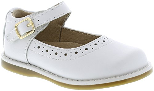 Footmates Girl's Heather Velcro Perf Mary Jane (Infant/Toddler/Little Kid) White (Single Strap Jane Mary)
