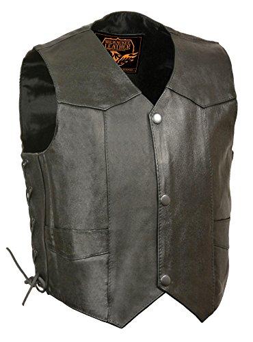 (Milwaukee Leather SH2011L-BLK-L Kids' Vest with Side Laces (Black, Large) )
