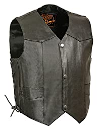 Leather King Kids' Vest with Side Laces (Black, X-Large)