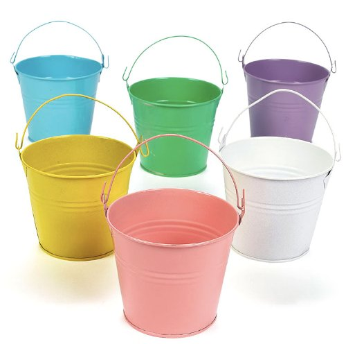 amazon com fun express 3 pastel colored tin pails 1 dozen toys