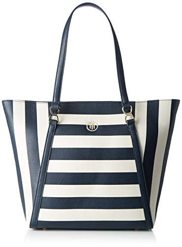 Tommy Hilfiger Fashion Novelty Stripe, Sac Femme, Multicolore (Midnight / Turtledove / Scooter Red), 13x31x33 cm