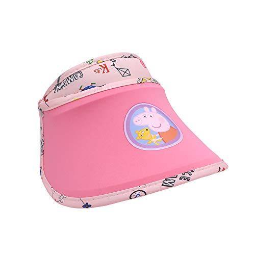 (HXQ Peppa Pig Kids UV Proof Sun Hat,with Adjustable Rack Gauze Visor Cap Age 4-13 Rose)