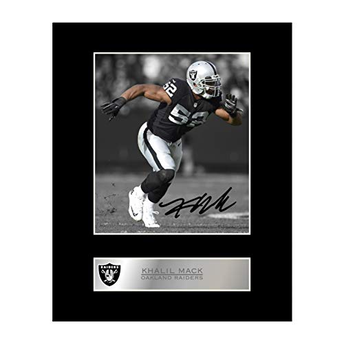 (iconic pics Khalil Mack Signed Mounted Photo Display Oakland Raiders )