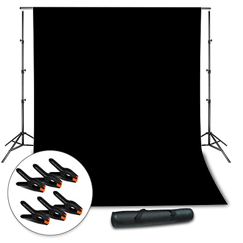 Julius Studio Background Muslin Backdrop Support System with Photo Clamp, Black Backdrop Muslin, Photo/Video Studio Kit, JSAG263 by Julius Studio