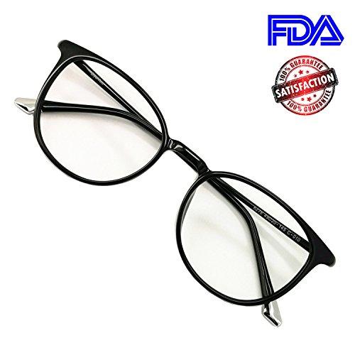 Reading Glasses Round Light Weight Anti Glare Premium Computer Reader Eyeglasses Frames for Women (Z. Black, - Glasses Zero Frames