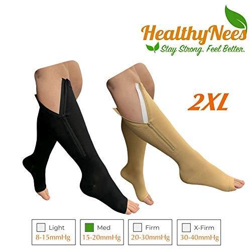 HealthyNees Open Toe 15-20 mmHg Zipper Compression Big Plus Size Full Knee Length Swelling Veins Circulation Support Extra Wide Calf Zip Sock (Combo 2XL) [並行輸入品] B07QS4WKMG