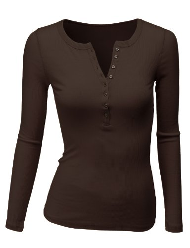(Doublju Long Sleeve Thermal Henley T-Shirt for Women with Plus Size Brown X-Large)
