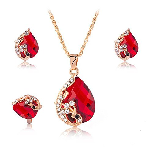 Ezing Women's Gold Plated Teardrop Crystal Necklace, Rings and Earrings Jewelry Set (red) -