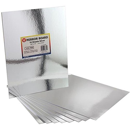 Hygloss Products Mirror Board Sheets - For Arts and Crafts, 8.5 x 11 in, Silver, 10 Pack (Board Mirror)