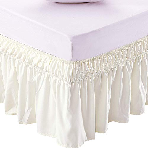 (RRlinen Ivory Wrap Around Bed Skirt Three Sided Fabric Silky Soft & Wrinkle Free Classic Stylish Look in Your Bedroom Twin-xl-21 inch Drop)