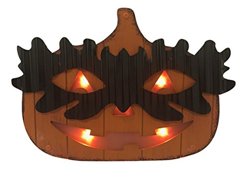 Lighted Wooden Jack O Lantern Pumpkin with Mask Standing Halloween Decorations (Fat) (Large Wooden Halloween Decorations)