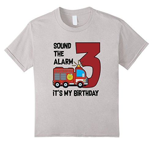 Unisex Child Fire Truck Birthday Boy Shirt 3 Years Old 4 Silver