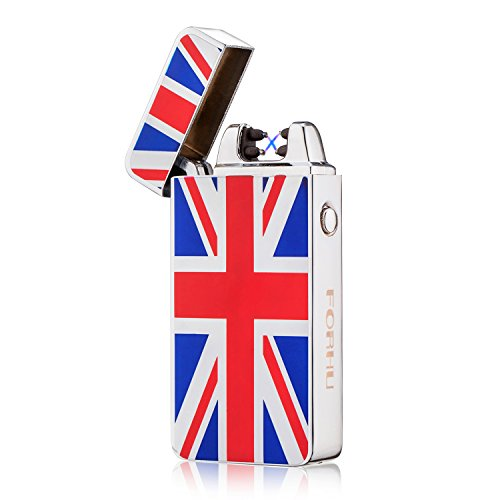 FORHU USB Rechargeable Lighter Windproof Flameless Electronic Pulse Arc Cigarette Lighter (Flag ()