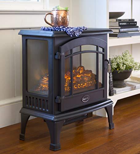 Plow & Hearth Portable Indoor Home Compact Electric Panoramic Quartz Infrared Heater 5000 BTU, Black (Fireplace Quartz)
