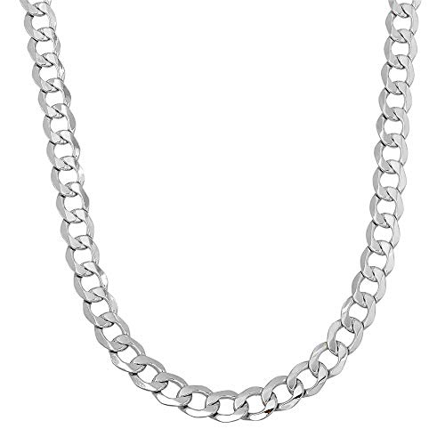 Verona Jewelers 925 Sterling Silver 3MM 3.5MM Curb Cuban Link Chain Necklace for Men Women- Cuban Link Chain Made in Italy (24, 5MM) (Cuban Link Chain In Silver)