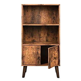 VASAGLE Retro Bookcase, 2-Tier Bookshelf with Doors, Storage Cabinet for Books, Photos, Decorations, in Living Room, Office, Library, Mid-Century Modern Style, Brown ULBC09BX
