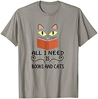 Cute Kitty Face All I Need Is Books And Cats T-shirt | Size S - 5XL